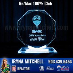 Iryna Mitchell - Top Producing DFW Realtor Won 100percent Club Award